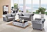 Kensington Handmade Chesterfield 3+2+1 Suite Classic Sofa (Grey)