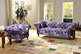 SCROLL CHESTERFIELD 2+1 LUXURY FABRIC PATCHWORK SOFA SUITE