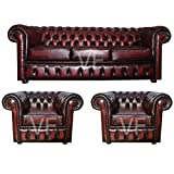 Chesterfield 100% Genuine Leather Antique Oxblood Red 3 Seater Plus 2x Club C...