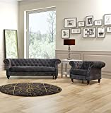 Lovesofas Belgravia Chesterfield 3 2 1 Seater Sofa Suite Variations - Amos Dark Grey (3+1+1)