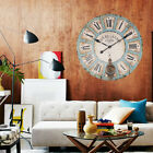 INDOOR OUTDOOR EXTRA LARGE SHABBY CHIC WALL CLOCK ANTIQUE VINTAGE STYLE 60CM