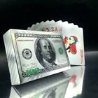 Novelty Silver 100 Dollar Poker Playing Plastic Cards Deck Waterproof Game Gift