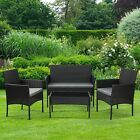 Garden Patio Furniture Outdoor Rattan Effect 4 Piece Set Sofa + Table + 2 Chairs
