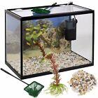 26 Litre Glass Aquarium Fish Tank Starter Kit Set Filter Pump Net Plant Stones