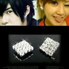 Men Women Square Crystals Rhinestone Magnetic CLIP ON Earrings Stud Non pierced