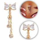 Cute Bow Belly Bars Drop Dangle Body Piercing Button Ring Crystal Gold Bar Navel