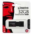 Kingston 32GB 64GB 128GB USB 3.0 DataTraveler Flash Drive Memory Stick, 130MB/s