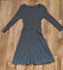 Black and white horizontal stripped midi dress