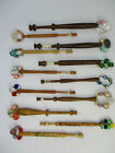 12 x Vintage Wooden Lace Making Bobbins With Spangles Various Sizes