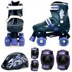 Purple Black Girls Quad Skates Kids Padded Roller Boots Safety Pads Helmet Set