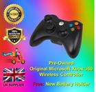 Genuine Microsoft Xbox 360 Wireless Black Controller *FREE FAST DELIVERY*