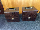 """2 x Matching Brown Leather 7"""" Vinyl Record Carry Case / Storage Boxes Vintage"""
