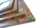 Photo Picture Frame Antique Rustic Wood Effect with Brass Filigree Corners.