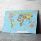 Large Framed Blue Green Map Of the World  Map Of World Canvas Prints Wall Art