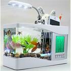 USB Small Mini Fish Tank Aquarium Desktop LED Light LCD Display Plants Ornamet
