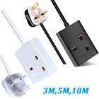 1 Way Gang Single Socket Power Mains Extension Lead Cable Black / White UK Plug