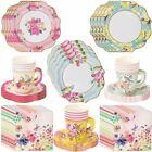 Vintage Tea Party Set Plates Cups Napkins for 12