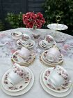 Vintage Shabby Chic Afternoon Tea Set Pink Rose Mismatched with Cake Stand 🌹🌷