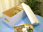 """7"""" VINYL RECORD STORAGE BOXES x2 WITH LIDS!STRONG!DOUBLE WALL HOLDS 2OO SINGLES!"""