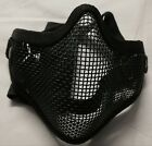 AIRSOFT STEEL MESH HALF FACE MASK. BLACK. NEW