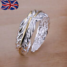 925 Sterling Silver plated Adjustable Ring Leaf Thumb Finger Rings Band Gift UK