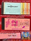 1975 A B C D E Tickets WALT DISNEY WORLD Adult Ticket Book BICENTENNIAL LOGO  B7