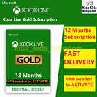 Xbox Live Gold 12 Month Membership - Xbox X S One 360 VPN Required