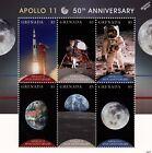NASA APOLLO 11 50th Anniversary Moon Landing Space Stamp Sheet (2018 Grenada)