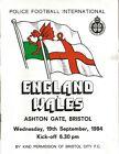 Football Programme - England v Wales - Police International - 19/9/1984