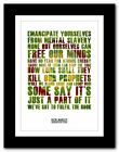 ❤ BOB MARLEY Redemption Song ❤ song lyric poster typography art print - 4 sizes