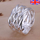 925 Sterling Silver Adjustable Silver Ring Band Weave Thumb Finger Rings