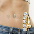 Hypoallergenic Gold AAA Crystal Bars Belly Chain Button Body Piercing Navel Ring
