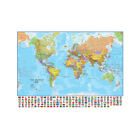 MAP OF THE WORLD POLITICAL MAP WITH FLAGS POSTER PRINT 5X3FT