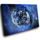 A454 Blue Fantasy Tiger Black Funky Animal Canvas Wall Art Large Picture Prints