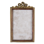 """Vintage Style Antique Gold Photo Picture Frame 6""""x4"""" Red Inner Border Bow Design"""