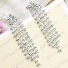 Clip On Earrings Diamante Silver Long Dangle Drop Tassel Crystal Non Pierced Ear