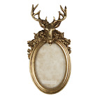 """Vintage Style Stag Deer Head Ornate Antique Gold Photo Picture Oval Frame 6""""x4"""""""
