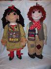 "Vintage Rosie and Jim  Plush Ragdolls Figures - 30"" & 1996 Annual - Rare!!"