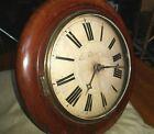 "Antique Mahogany 12"" Round Wall Clock for Restoration - w Weights & Pendulum"