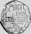 Isle Of Man 🇮🇲Coin 50p Pence 2018 Poppy Rememberance 100y End WWI UNC from Bag