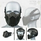 Black Tactical Airsoft Half Face Paintball Mask Helmet Compatible Protective UK