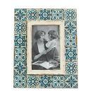 "Mediterranean Mosaic Blue Photo Frame Vintage Picture Antique Rustic 6x4"""