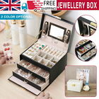 3 Layer Large Jewellery Box Cabinet Necklace Ring Bracelet Mirror Lock Organizer