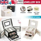 Large Jewellery Box Cabinet Necklace Ring Bracelet Mirror Lock Organizer 3 Layer