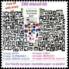 GLITTER TATTOO KIT 288 stencils 20 glitter 5 glue OR REFILL ITEMS DROP DOWN MENU