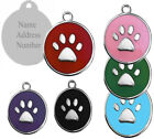 Round Colour Paw Engraved Dog Cat ID Name Tag Personalised Pet Identity Disc UK
