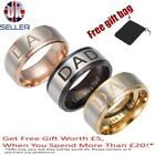 Mens gold wedding engraved DAD ring band Fathers day Birthday gift