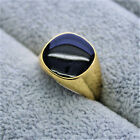 Gold Plated Simulated Mens Ring CZ Micro Pave 3D ice out Pinky Stone