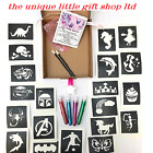 GLITTER TATTOO KIT BOY GIRL 20 stencils 4 glitters  glue applicator BOX