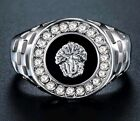 18ct  White Gold Plated MEDUSA  Onyx Signet Wedding Band  Mens pinky  Ring